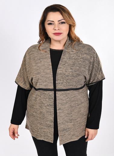Optique Knitwear Düz Şal Yaka Kolsuz Kaşmir Yelek Vizon